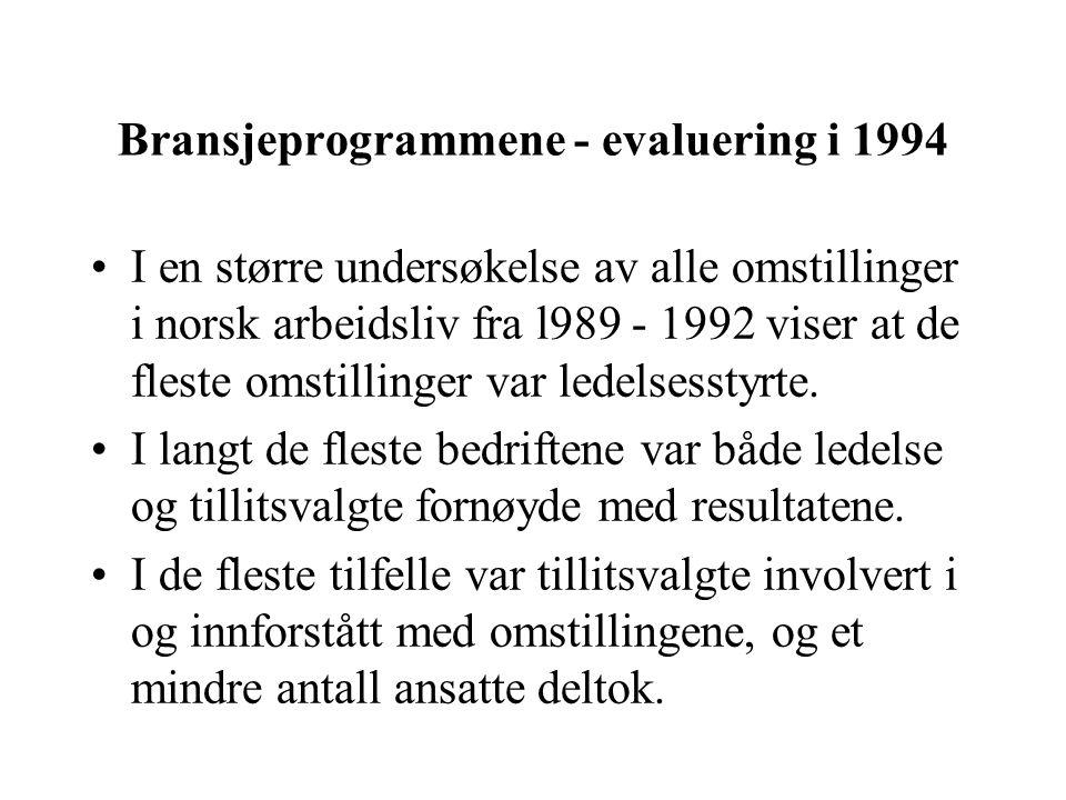 Bransjeprogrammene - evaluering i 1994 I en større undersøkelse av alle omstillinger i norsk arbeidsliv fra l989 - 1992 viser at de fleste omstillinger var ledelsesstyrte.