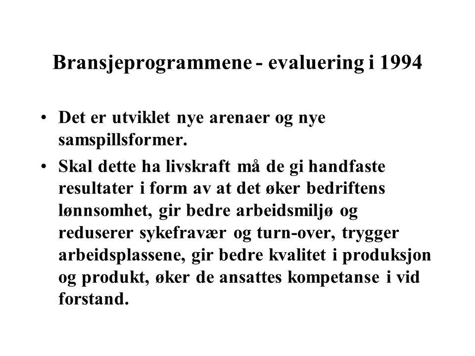 Bransjeprogrammene - evaluering i 1994 Det er utviklet nye arenaer og nye samspillsformer.