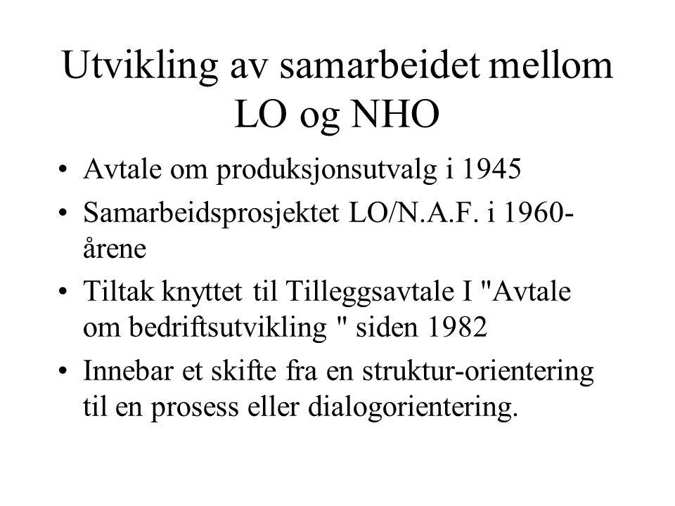 Utvikling av samarbeidet mellom LO og NHO Struktur-orienteringa innebar en vektlegging av konkrete organisasjonsmessige ordninger og formaliserte beslutningsprosesser, eks.
