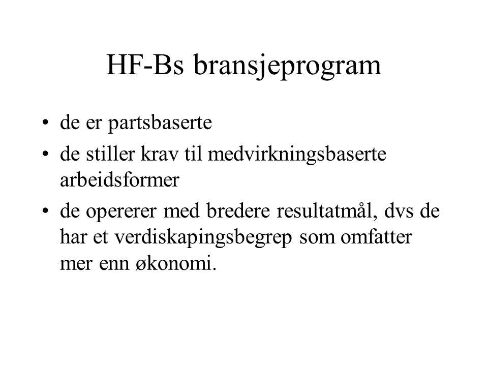 HF-Bs bransjeprogram de er partsbaserte de stiller krav til medvirkningsbaserte arbeidsformer de opererer med bredere resultatmål, dvs de har et verdiskapingsbegrep som omfatter mer enn økonomi.