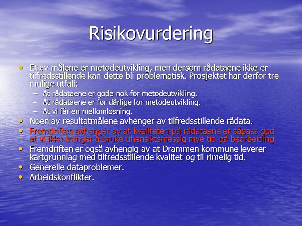 Risikovurdering Et av målene er metodeutvikling, men dersom rådataene ikke er tilfredsstillende kan dette bli problematisk. Prosjektet har derfor tre