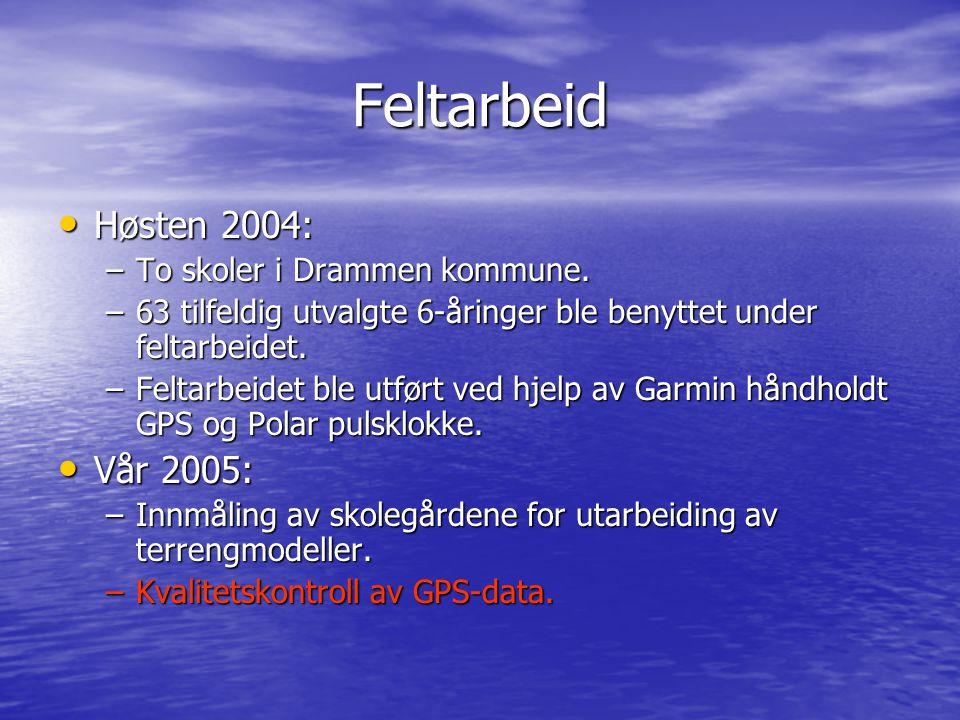 Feltarbeid Høsten 2004: Høsten 2004: –To skoler i Drammen kommune. –63 tilfeldig utvalgte 6-åringer ble benyttet under feltarbeidet. –Feltarbeidet ble