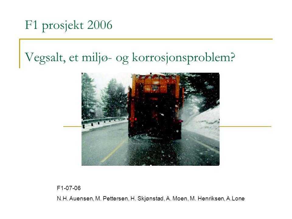 F1 prosjekt 2006 Vegsalt, et miljø- og korrosjonsproblem? F1-07-06 N.H. Auensen, M. Pettersen, H. Skjønstad, A. Moen, M. Henriksen, A.Lone