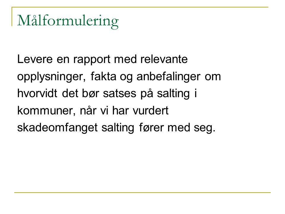 Målformulering Levere en rapport med relevante opplysninger, fakta og anbefalinger om hvorvidt det bør satses på salting i kommuner, når vi har vurdert skadeomfanget salting fører med seg.