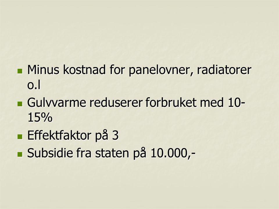 Minus kostnad for panelovner, radiatorer o.l Minus kostnad for panelovner, radiatorer o.l Gulvvarme reduserer forbruket med 10- 15% Gulvvarme redusere