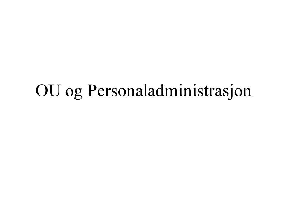 OU og Personaladministrasjon