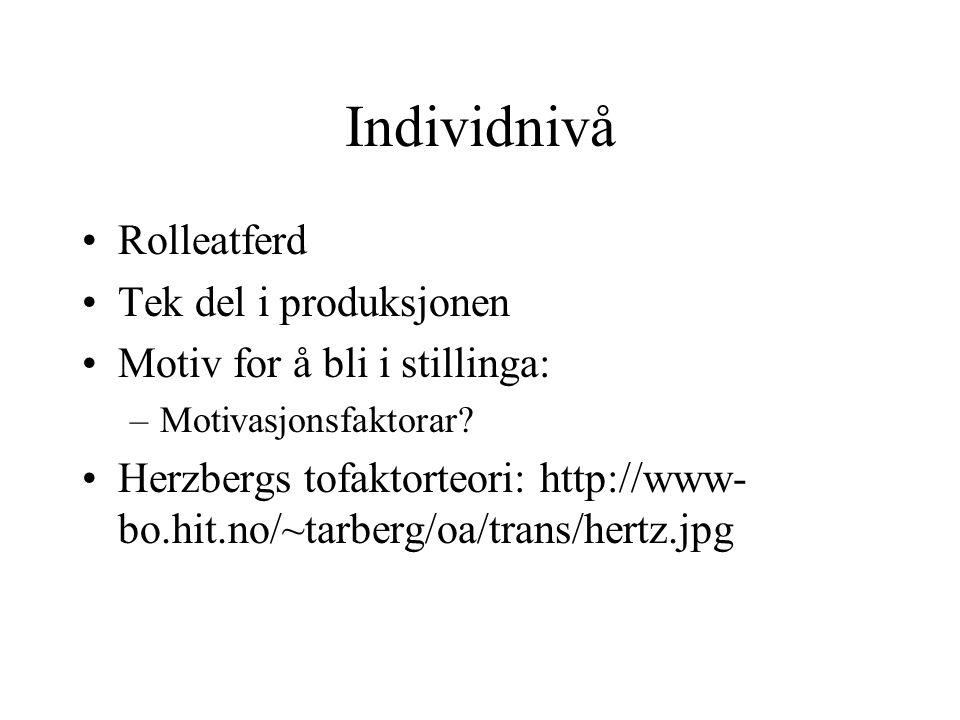 Individnivå Rolleatferd Tek del i produksjonen Motiv for å bli i stillinga: –Motivasjonsfaktorar.