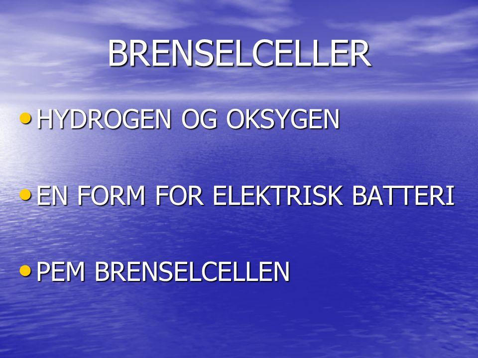 BRENSELCELLER HYDROGEN OG OKSYGEN HYDROGEN OG OKSYGEN EN FORM FOR ELEKTRISK BATTERI EN FORM FOR ELEKTRISK BATTERI PEM BRENSELCELLEN PEM BRENSELCELLEN