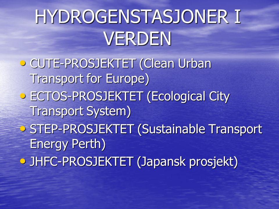HYDROGENSTASJONER I VERDEN CUTE-PROSJEKTET (Clean Urban Transport for Europe) CUTE-PROSJEKTET (Clean Urban Transport for Europe) ECTOS-PROSJEKTET (Ecological City Transport System) ECTOS-PROSJEKTET (Ecological City Transport System) STEP-PROSJEKTET (Sustainable Transport Energy Perth) STEP-PROSJEKTET (Sustainable Transport Energy Perth) JHFC-PROSJEKTET (Japansk prosjekt) JHFC-PROSJEKTET (Japansk prosjekt)