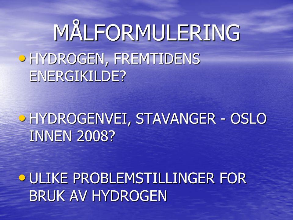 MÅLFORMULERING HYDROGEN, FREMTIDENS ENERGIKILDE? HYDROGEN, FREMTIDENS ENERGIKILDE? HYDROGENVEI, STAVANGER - OSLO INNEN 2008? HYDROGENVEI, STAVANGER -