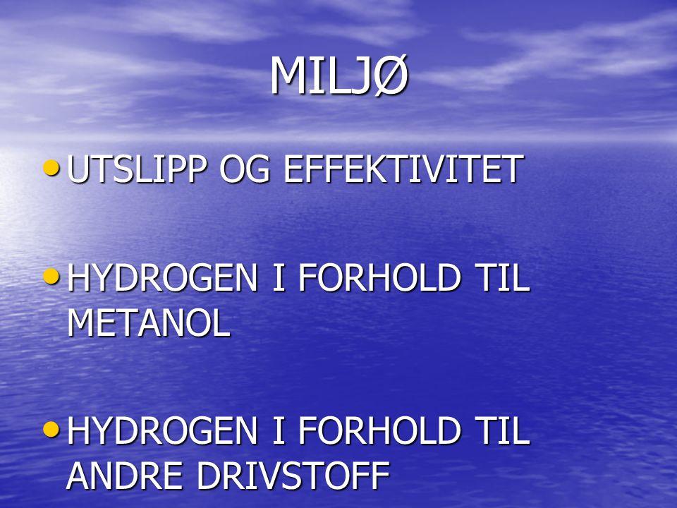 MILJØ UTSLIPP OG EFFEKTIVITET UTSLIPP OG EFFEKTIVITET HYDROGEN I FORHOLD TIL METANOL HYDROGEN I FORHOLD TIL METANOL HYDROGEN I FORHOLD TIL ANDRE DRIVSTOFF HYDROGEN I FORHOLD TIL ANDRE DRIVSTOFF