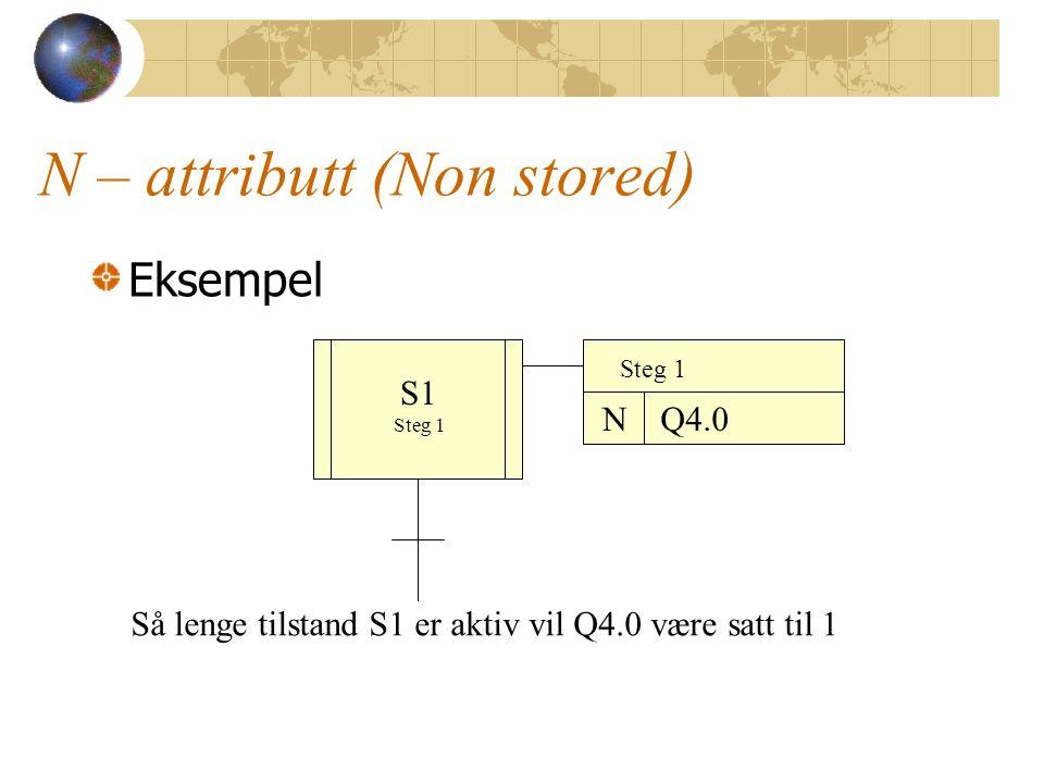 N – attributt (Non stored) Eksempel S1 Steg 1 NQ4.0 Så lenge tilstand S1 er aktiv vil Q4.0 være satt til 1