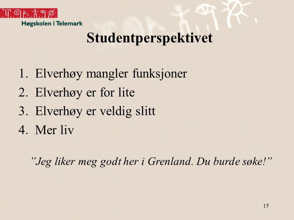 """15 Studentperspektivet 1.Elverhøy mangler funksjoner 2.Elverhøy er for lite 3.Elverhøy er veldig slitt 4.Mer liv """"Jeg liker meg godt her i Grenland. D"""