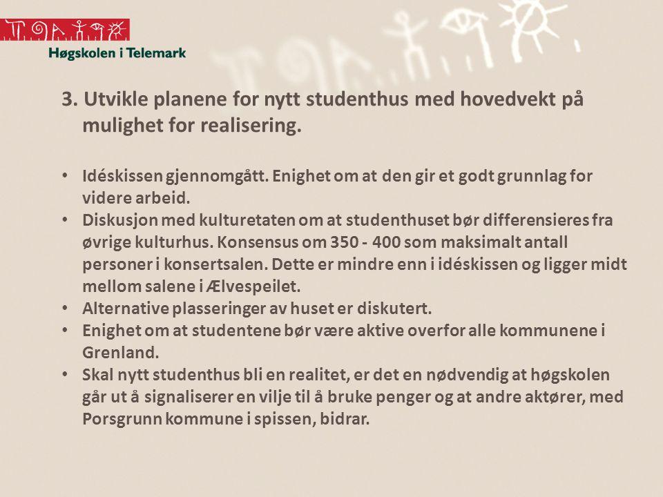 3. Utvikle planene for nytt studenthus med hovedvekt på mulighet for realisering. Idéskissen gjennomgått. Enighet om at den gir et godt grunnlag for v