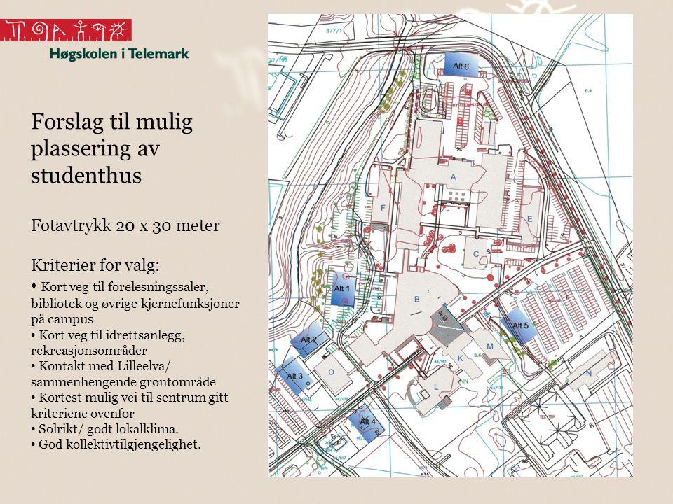 20 Forslag til mulig plassering av studenthus Fotavtrykk 20 x 30 meter Kriterier for valg: Kort veg til forelesningssaler, bibliotek og øvrige kjernef