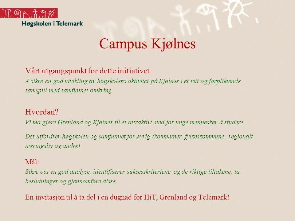 Campus Kjølnes Vårt utgangspunkt for dette initiativet: Å sikre en god utvikling av høgskolens aktivitet på Kjølnes i et tett og forpliktende samspill
