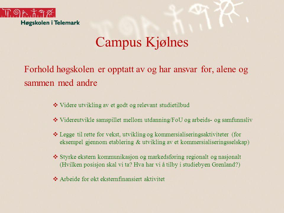 Campus Kjølnes Forhold høgskolen er opptatt av og har ansvar for, alene og sammen med andre  Videre utvikling av et godt og relevant studietilbud  V