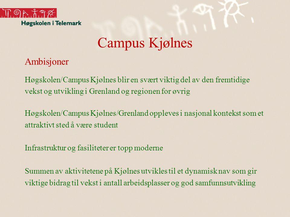 Campus Kjølnes Ambisjoner Høgskolen/Campus Kjølnes blir en svært viktig del av den fremtidige vekst og utvikling i Grenland og regionen for øvrig Høgs