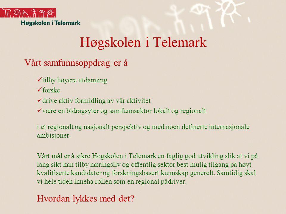 Høgskolen i Telemark Vårt samfunnsoppdrag er å tilby høyere utdanning forske drive aktiv formidling av vår aktivitet være en bidragsyter og samfunnsaktør lokalt og regionalt i et regionalt og nasjonalt perspektiv og med noen definerte internasjonale ambisjoner.
