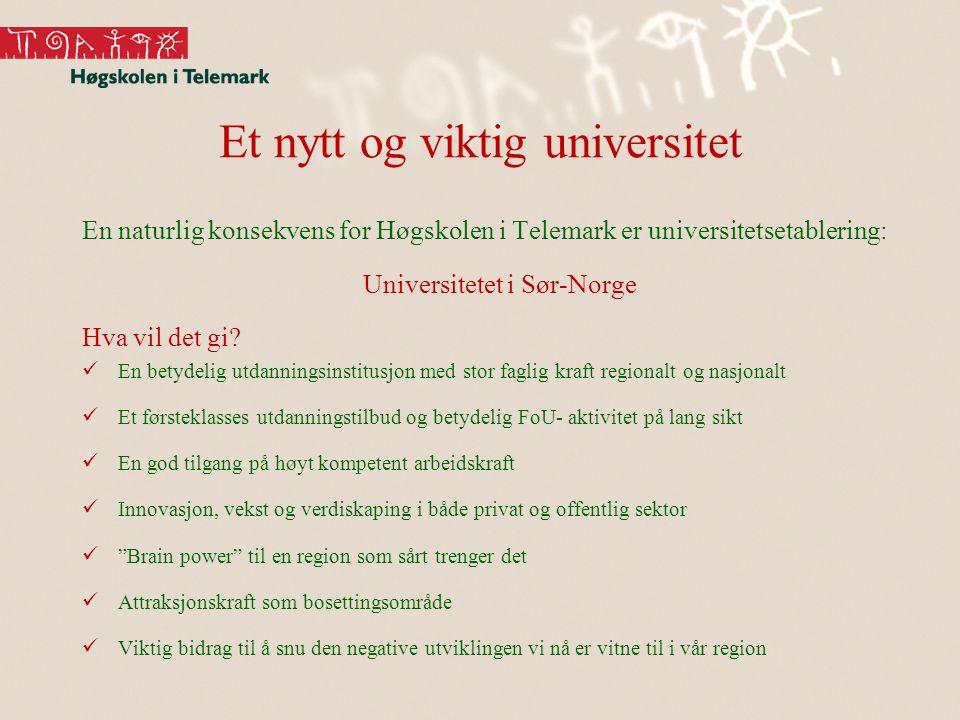 Et nytt og viktig universitet En naturlig konsekvens for Høgskolen i Telemark er universitetsetablering: Universitetet i Sør-Norge Hva vil det gi? En