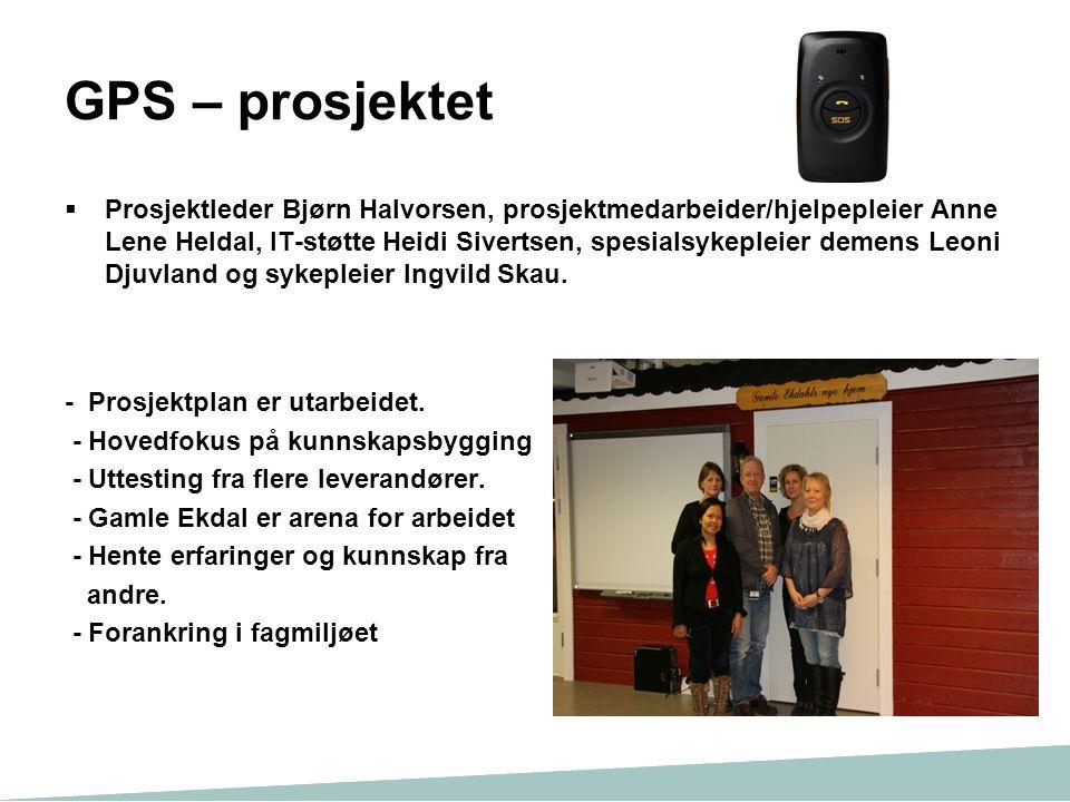 GPS – prosjektet  Prosjektleder Bjørn Halvorsen, prosjektmedarbeider/hjelpepleier Anne Lene Heldal, IT-støtte Heidi Sivertsen, spesialsykepleier deme