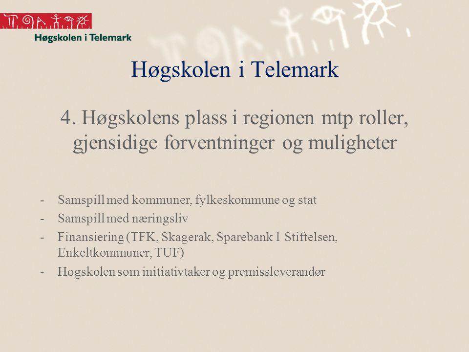 Høgskolen i Telemark 4. Høgskolens plass i regionen mtp roller, gjensidige forventninger og muligheter -Samspill med kommuner, fylkeskommune og stat -