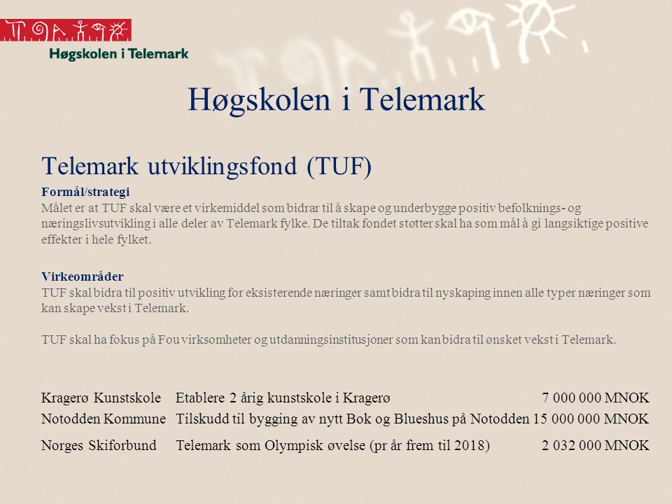 Høgskolen i Telemark Telemark utviklingsfond (TUF) Formål/strategi Målet er at TUF skal være et virkemiddel som bidrar til å skape og underbygge posit
