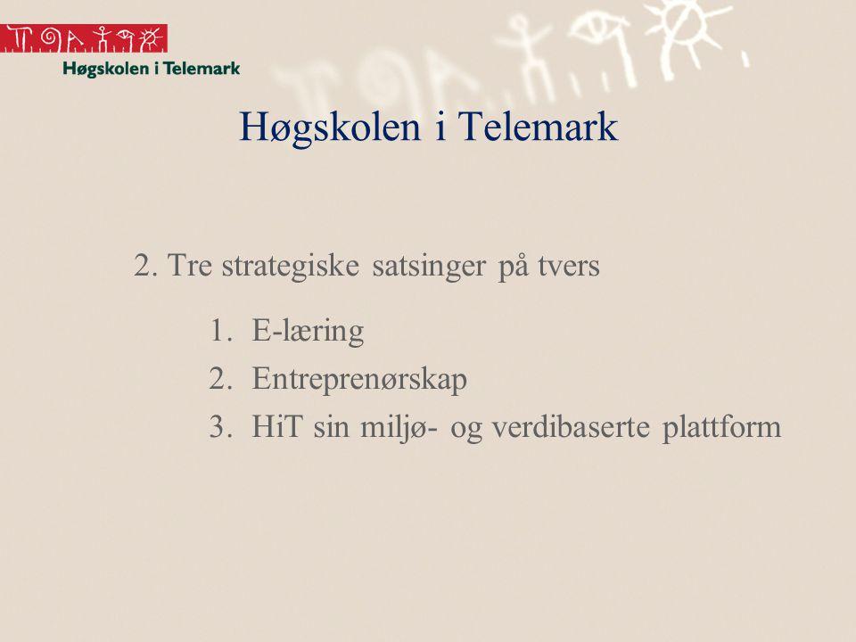Høgskolen i Telemark 2. Tre strategiske satsinger på tvers 1.E-læring 2.Entreprenørskap 3.HiT sin miljø- og verdibaserte plattform