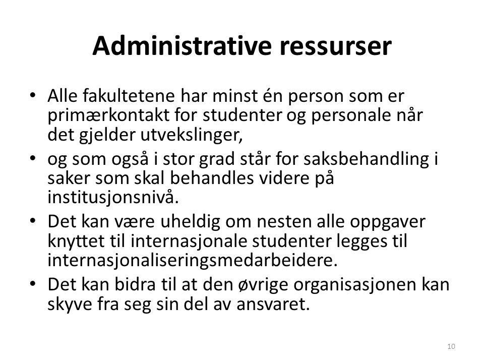 Administrative ressurser Alle fakultetene har minst én person som er primærkontakt for studenter og personale når det gjelder utvekslinger, og som ogs