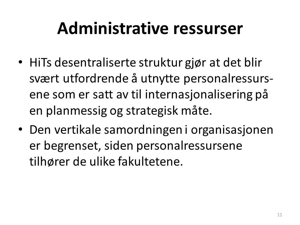 Administrative ressurser HiTs desentraliserte struktur gjør at det blir svært utfordrende å utnytte personalressurs- ene som er satt av til internasjo