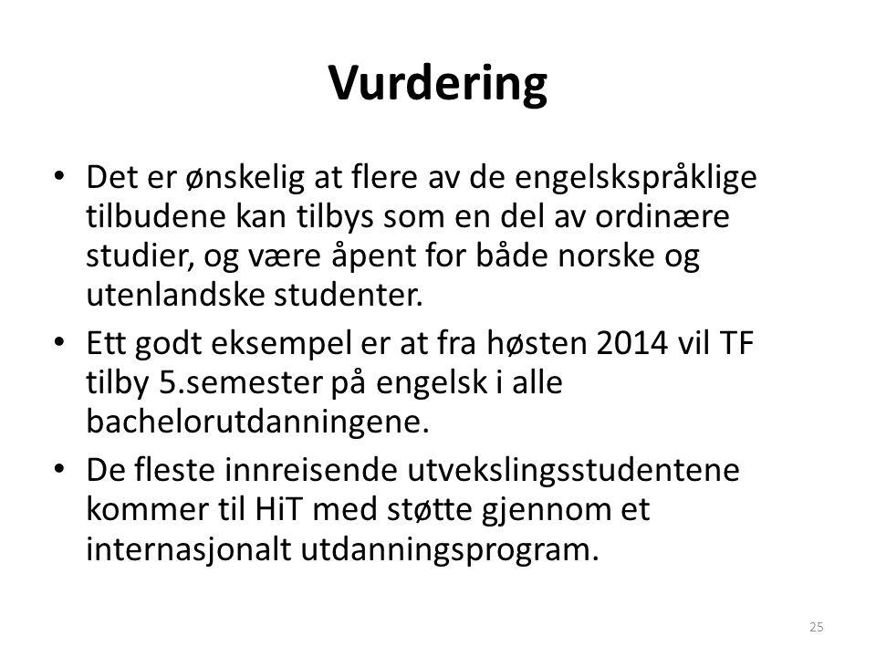Vurdering Det er ønskelig at flere av de engelskspråklige tilbudene kan tilbys som en del av ordinære studier, og være åpent for både norske og utenla
