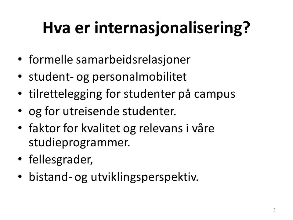Hva er internasjonalisering? formelle samarbeidsrelasjoner student- og personalmobilitet tilrettelegging for studenter på campus og for utreisende stu