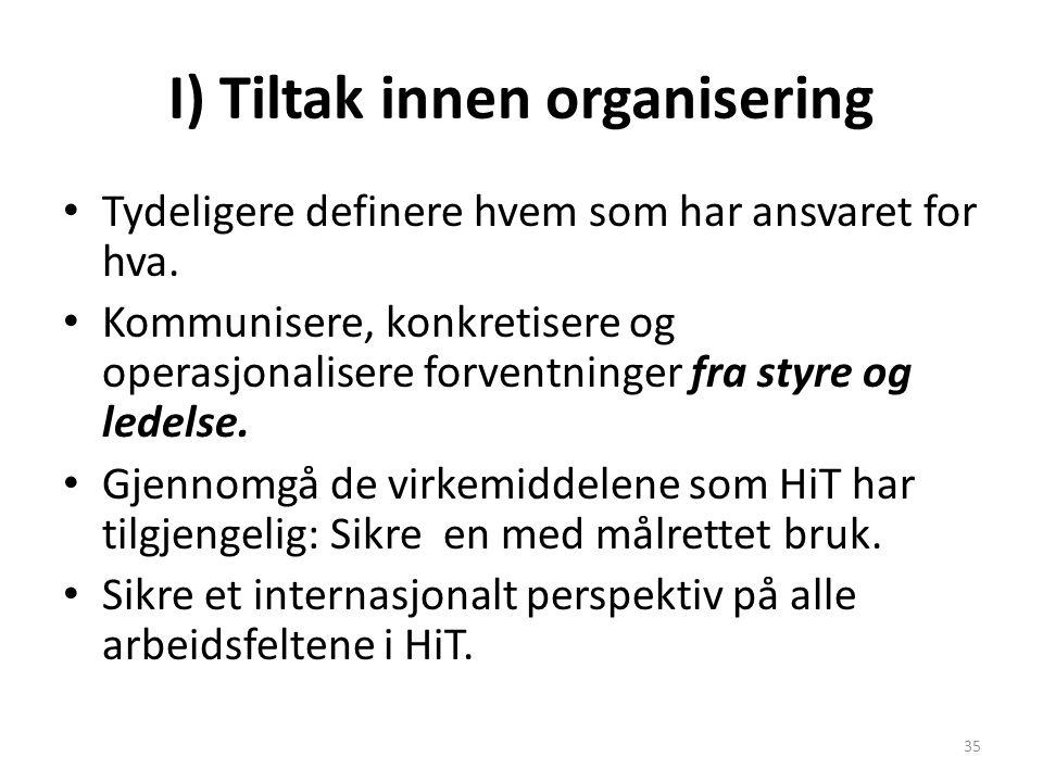 I) Tiltak innen organisering Tydeligere definere hvem som har ansvaret for hva. Kommunisere, konkretisere og operasjonalisere forventninger fra styre