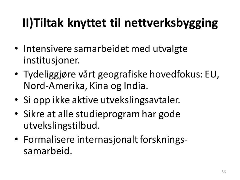 II)Tiltak knyttet til nettverksbygging Intensivere samarbeidet med utvalgte institusjoner. Tydeliggjøre vårt geografiske hovedfokus: EU, Nord-Amerika,