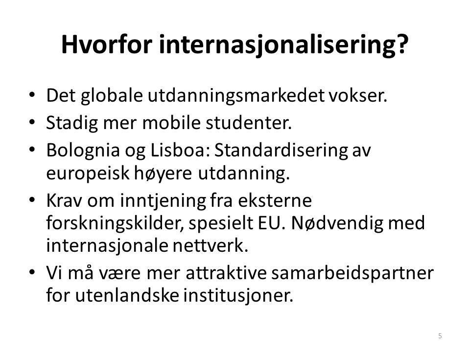 Hvorfor internasjonalisering? Det globale utdanningsmarkedet vokser. Stadig mer mobile studenter. Bolognia og Lisboa: Standardisering av europeisk høy