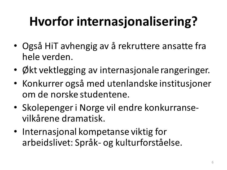 Hvorfor internasjonalisering? Også HiT avhengig av å rekruttere ansatte fra hele verden. Økt vektlegging av internasjonale rangeringer. Konkurrer også