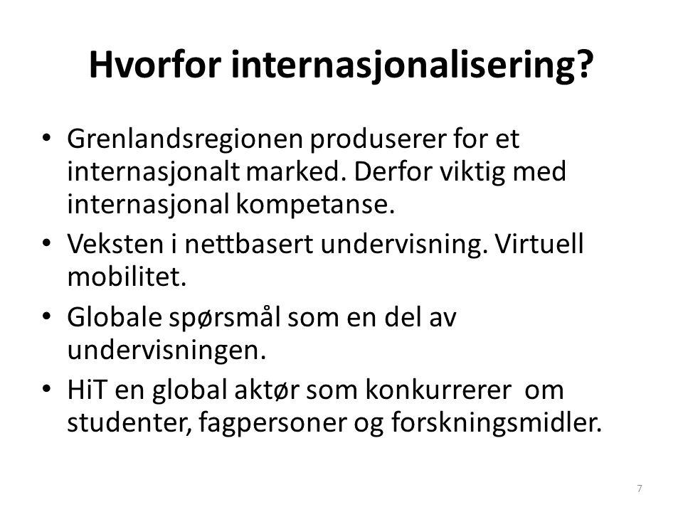 Hvorfor internasjonalisering? Grenlandsregionen produserer for et internasjonalt marked. Derfor viktig med internasjonal kompetanse. Veksten i nettbas