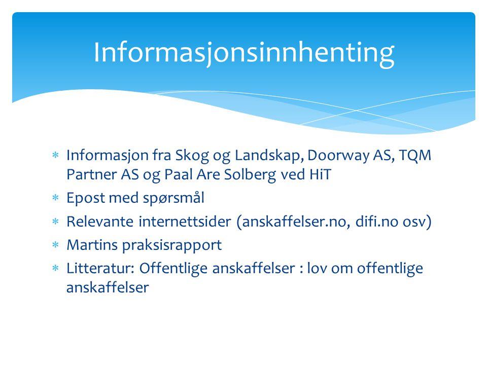  Informasjon fra Skog og Landskap, Doorway AS, TQM Partner AS og Paal Are Solberg ved HiT  Epost med spørsmål  Relevante internettsider (anskaffels