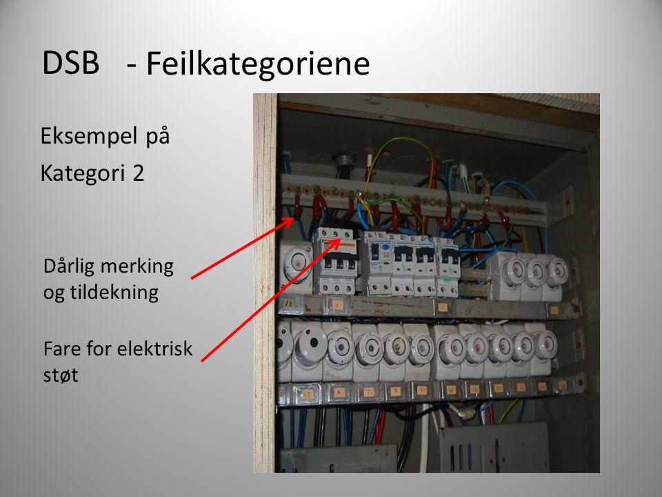 DSB Eksempel på Kategori 2 - Feilkategoriene Dårlig merking og tildekning Fare for elektrisk støt