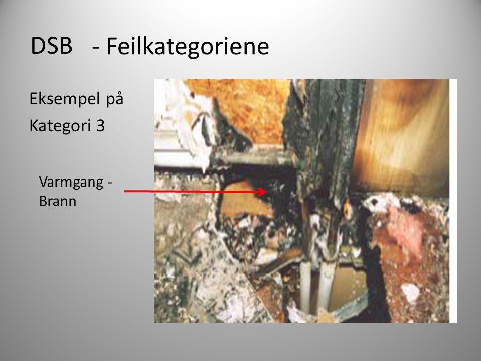 DSB Eksempel på Kategori 3 - Feilkategoriene Varmgang - Brann
