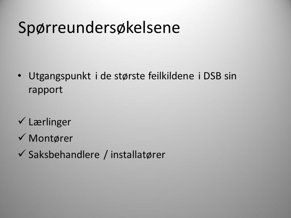 Spørreundersøkelsene Utgangspunkt i de største feilkildene i DSB sin rapport Lærlinger Montører Saksbehandlere / installatører