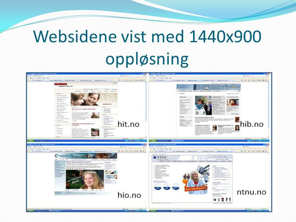 Websidene vist med 1440x900 oppløsning