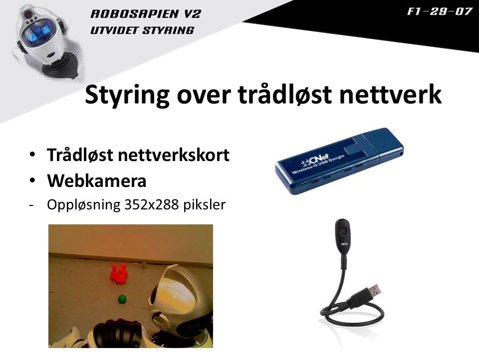 Styring over trådløst nettverk Trådløst nettverkskort Webkamera -Oppløsning 352x288 piksler