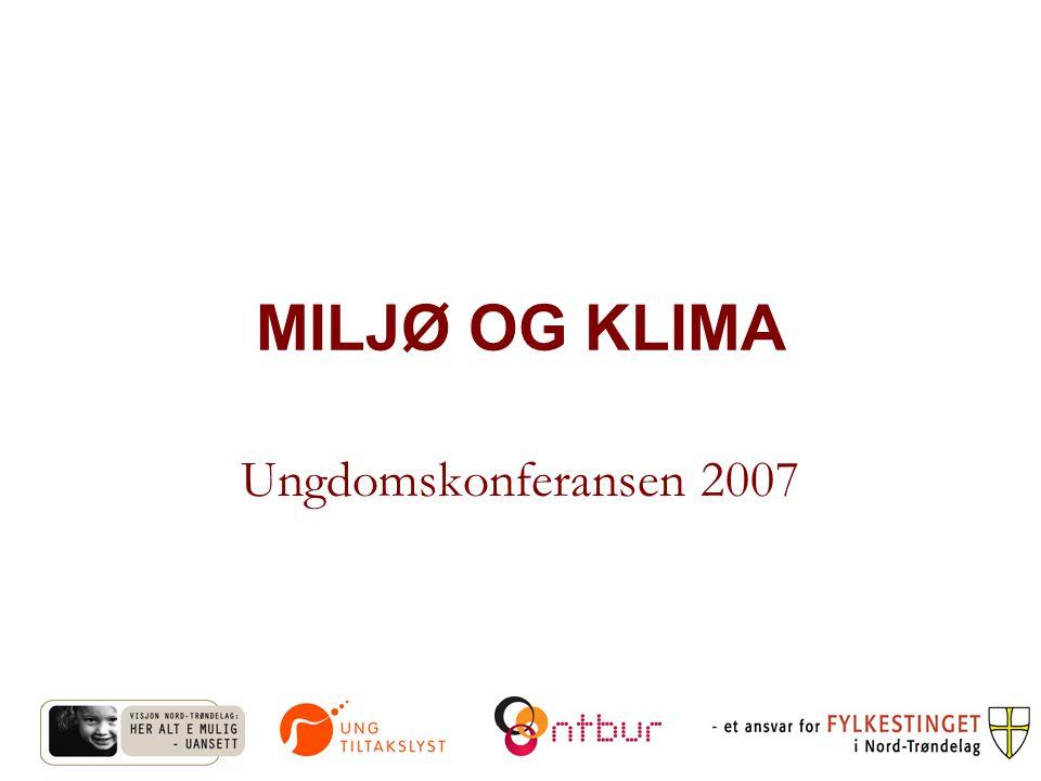 MILJØ OG KLIMA Ungdomskonferansen 2007