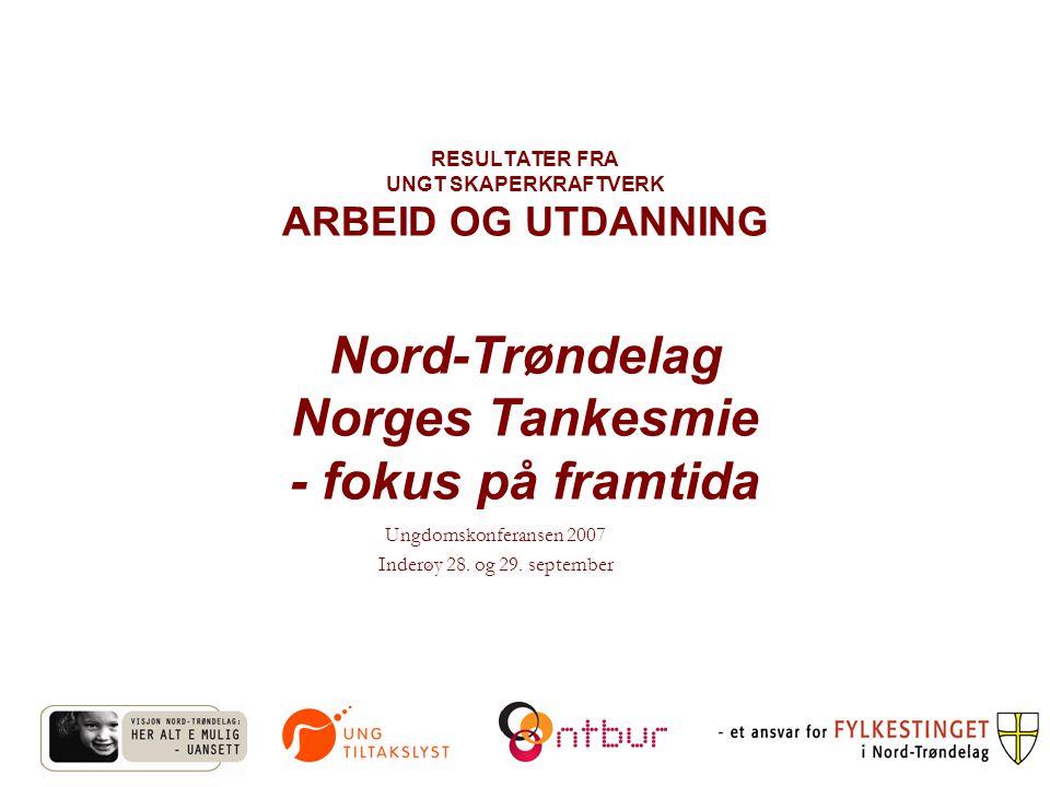 RESULTATER FRA UNGT SKAPERKRAFTVERK ARBEID OG UTDANNING Nord-Trøndelag Norges Tankesmie - fokus på framtida Ungdomskonferansen 2007 Inderøy 28.