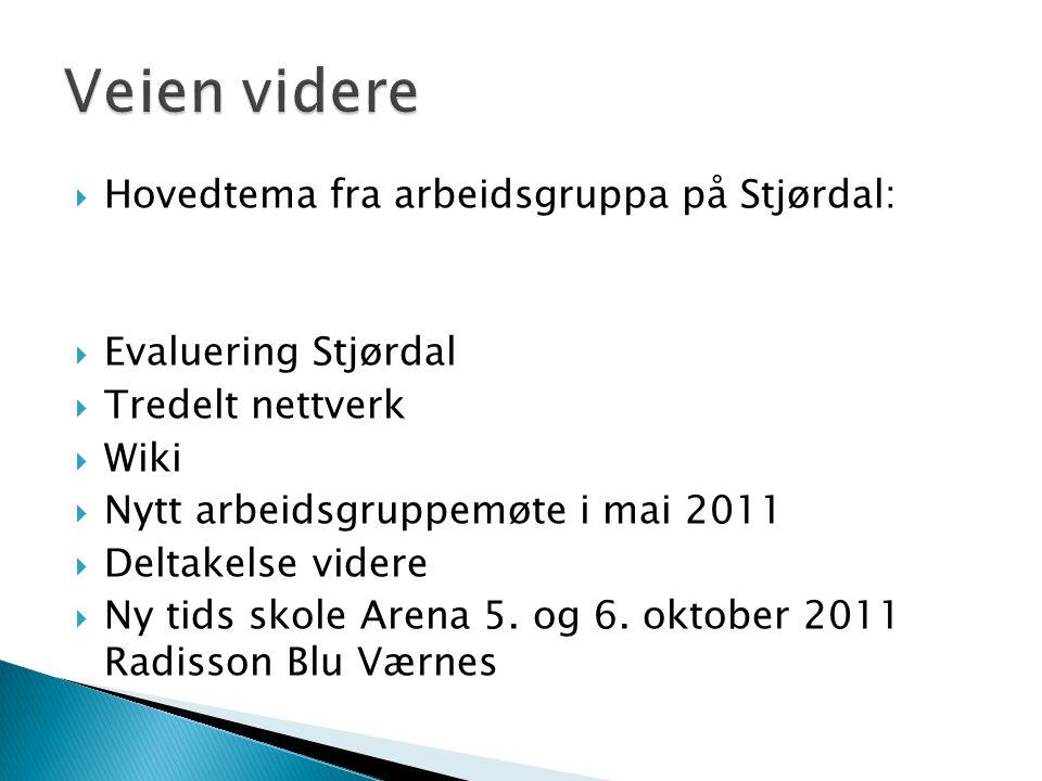  Hovedtema fra arbeidsgruppa på Stjørdal:  Evaluering Stjørdal  Tredelt nettverk  Wiki  Nytt arbeidsgruppemøte i mai 2011  Deltakelse videre  Ny tids skole Arena 5.