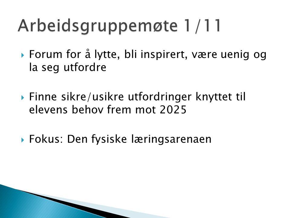  Forum for å lytte, bli inspirert, være uenig og la seg utfordre  Finne sikre/usikre utfordringer knyttet til elevens behov frem mot 2025  Fokus: Den fysiske læringsarenaen