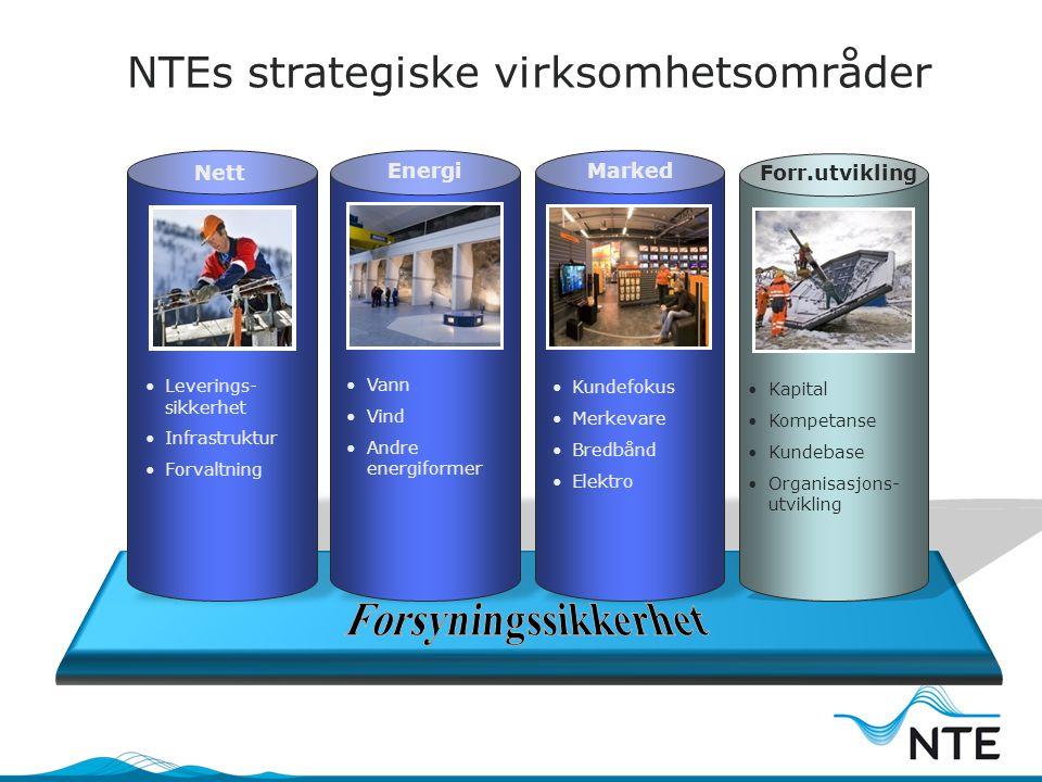 NTEs strategiske virksomhetsområder Nett Leverings- sikkerhet Infrastruktur Forvaltning Energi Vann Vind Andre energiformer Marked Kundefokus Merkevar