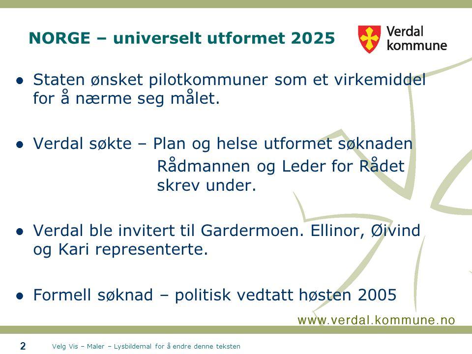Velg Vis – Maler – Lysbildemal for å endre denne teksten 2 NORGE – universelt utformet 2025 Staten ønsket pilotkommuner som et virkemiddel for å nærme seg målet.
