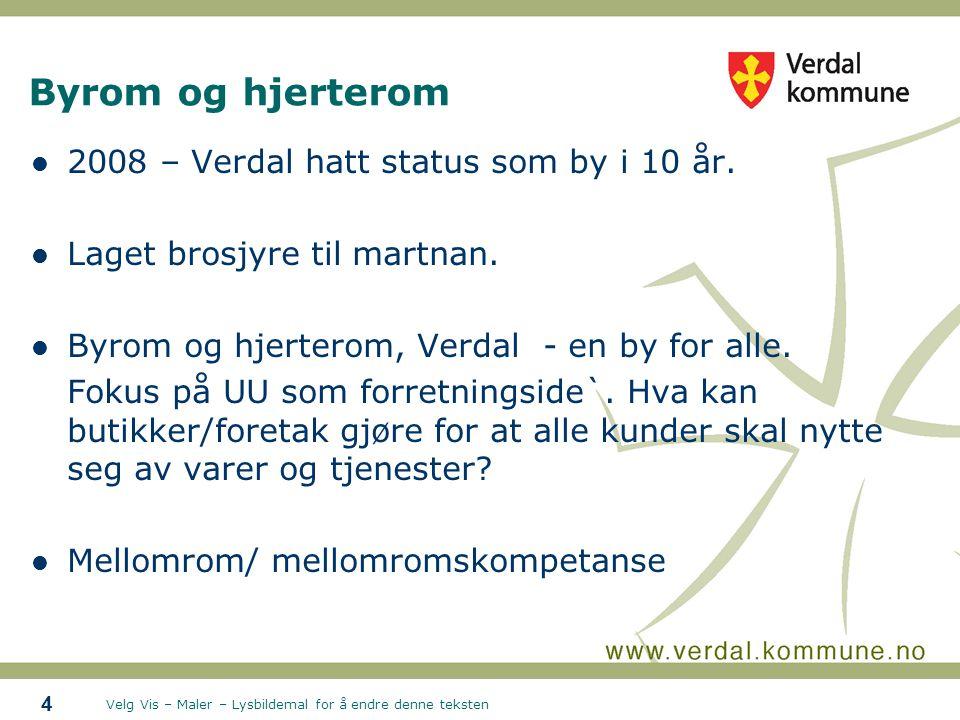 Velg Vis – Maler – Lysbildemal for å endre denne teksten Byrom og hjerterom 2008 – Verdal hatt status som by i 10 år.